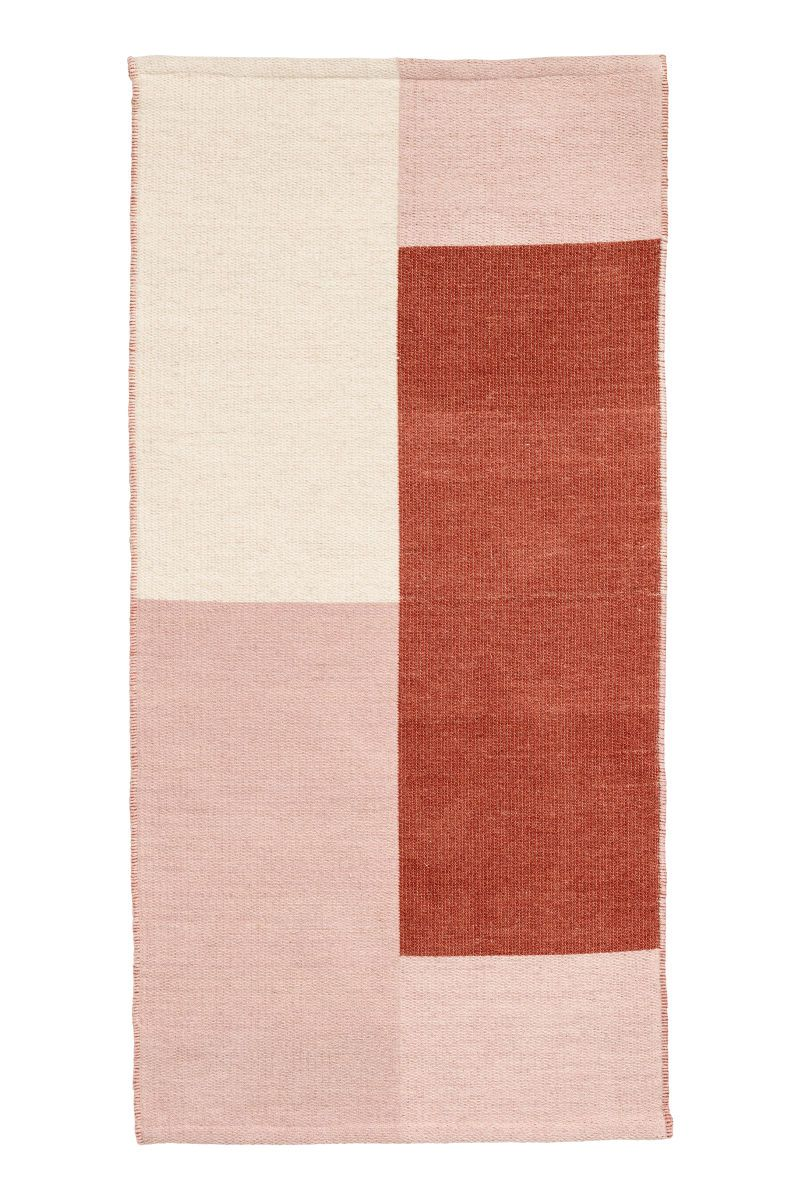 Rust Brown Multicolored Color Block Rug In A Wool And Cotton Blend Rugs Woven Rug Home Textile