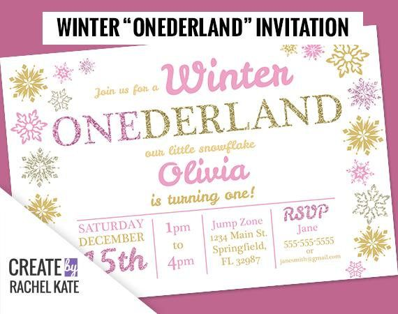 Winter onederland wonderland one first snowflakes birthday party create by rachel kate personalized invitation this digital invitation will be a great addition to your party planning impress your guests with a stopboris Image collections