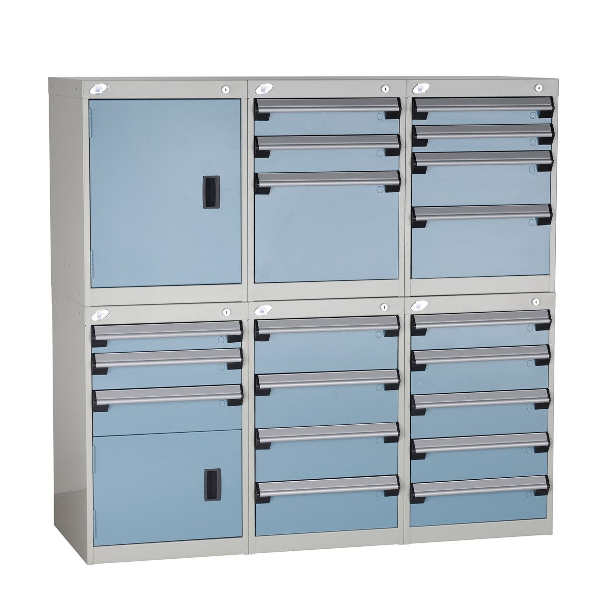 Cabinets / Drawer / Toolbox System Rousseau Metal   Drawer Cap. (lb.):100    No. Drawers: 19   Width (inches): 54   Height (inches): 52   Depth  (inches): 21 ...