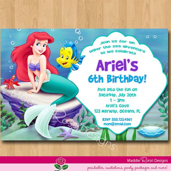 Little Mermaid Invitation Princess Ariel By MaddieRoseDesignz - Custom ariel birthday invitations