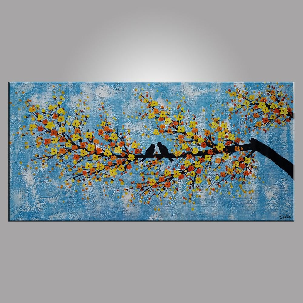 Abstract Art Love, Love Birds Painting, Bedroom Wall Art, Abstract ...