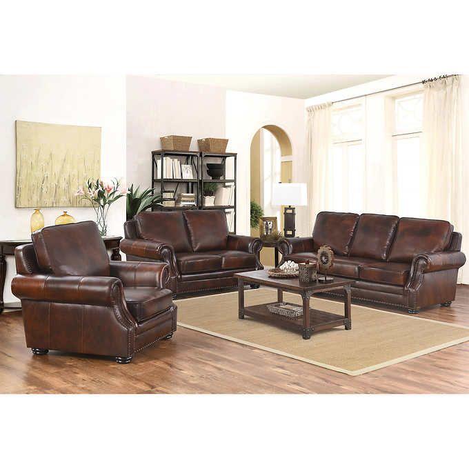 Costco Living Room Sets: Brayden 3-piece Top Grain Leather Living Room Set