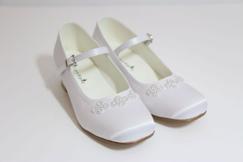 White Satin Communion Shoes with Heel