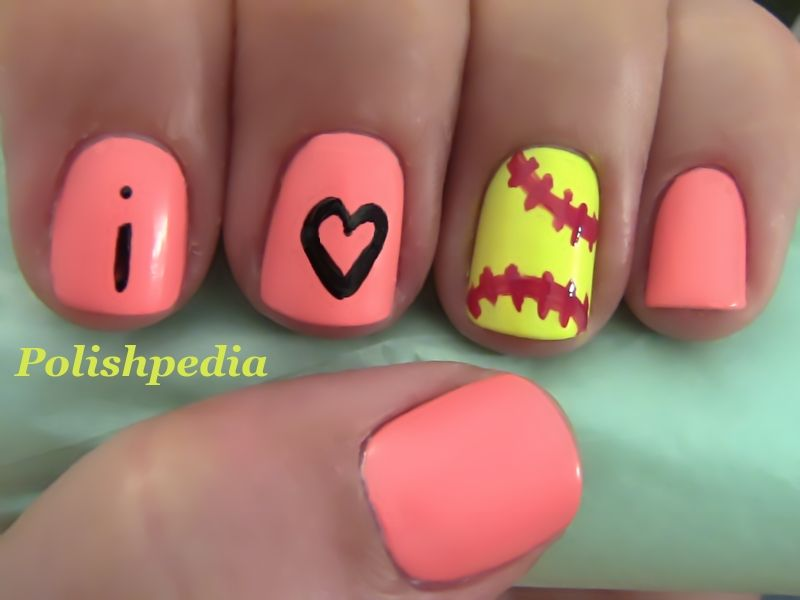 out of the park softball nail design - Little Girl Nail Design Ideas