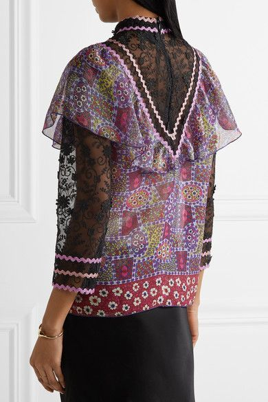 Discount Lowest Price Clearance Purchase Anna Sui Woman Embroidered Tulle And Printed Silk-blend Chiffon Blouse Purple Size 4 Anna Sui Visa Payment Online Visit New For Sale Free Shipping Best 47FKQLa
