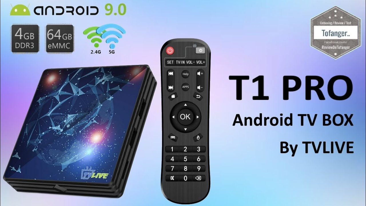 T1 PRO Box TV Android TVLIVE Android TV Box 9.0 4GB RAM+