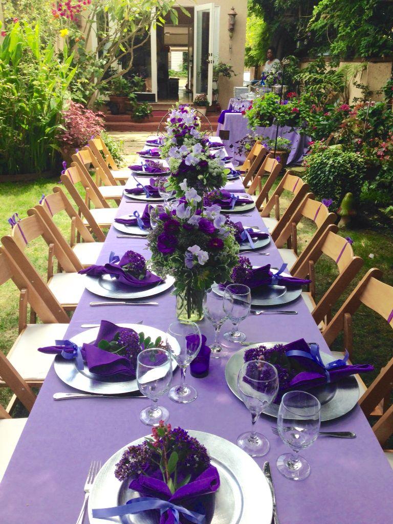 Lunch in the garden. Purple table settings, Wedding