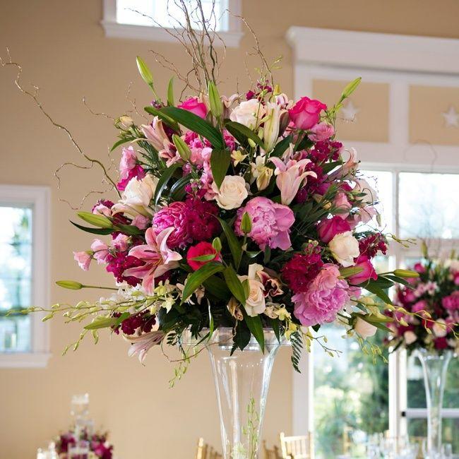 Pink Flower Centerpieces For Weddings: Tall Flower Arrangements