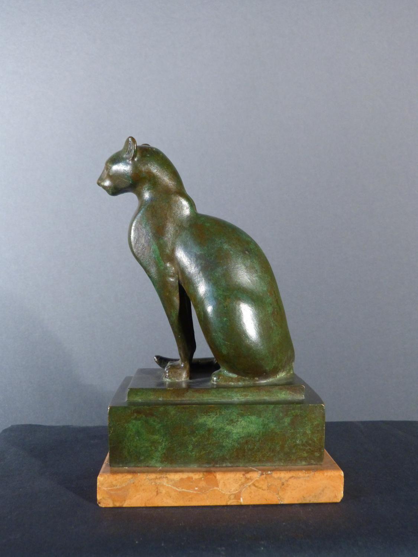 Antique for sale art deco statue egyptian cat s bronze