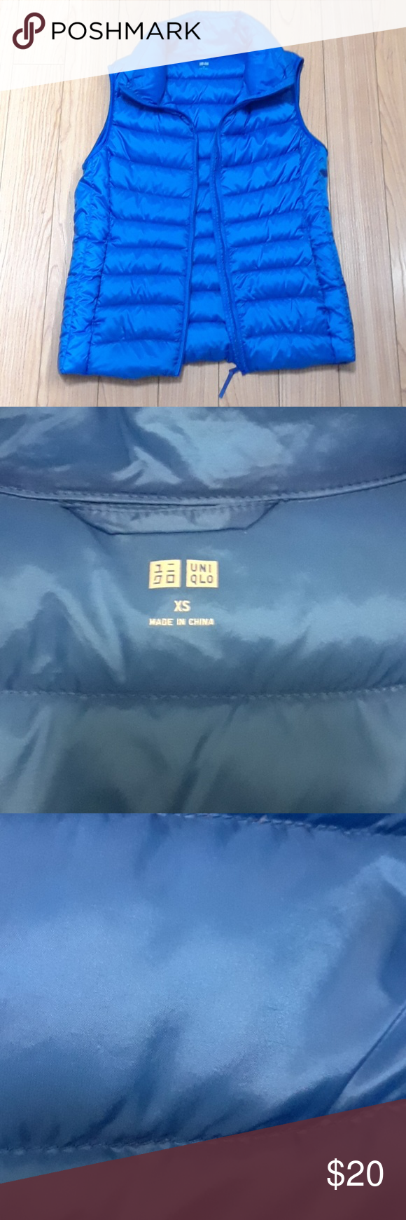 Uniqlo blue down puffer vest Clothes design, Uniqlo
