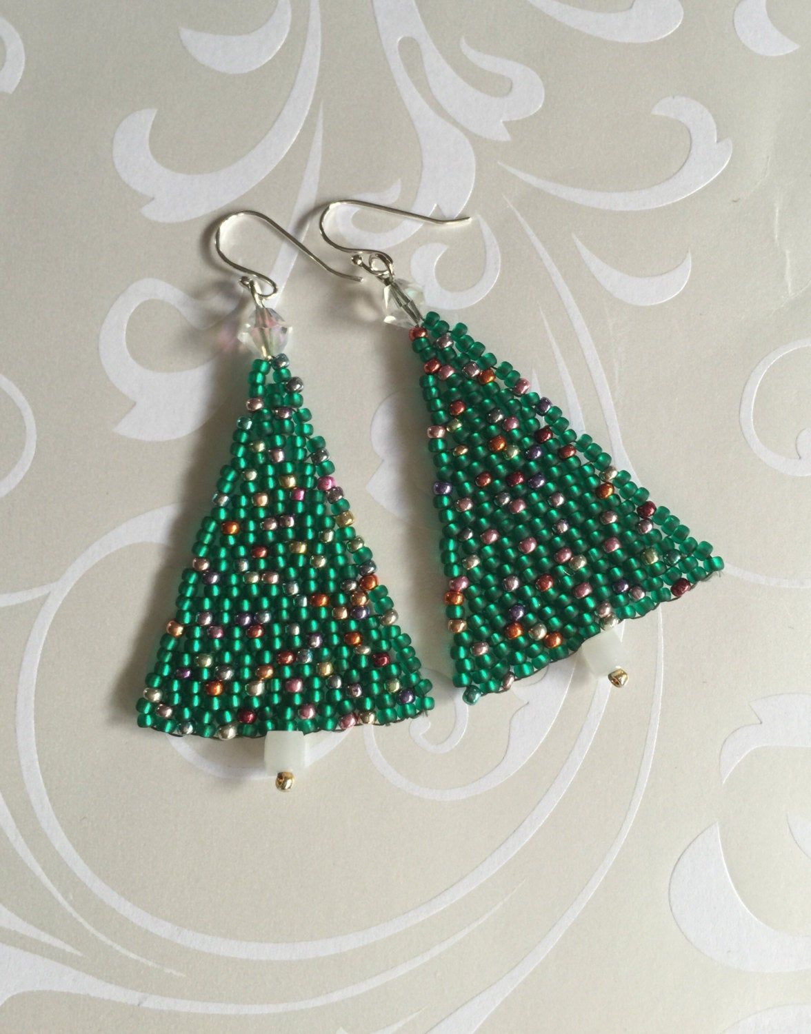 Beaded Pendent Pattern Holiday Brick Stitch Seed Bead Tutorial Christmas Tree Instant Download PDF File