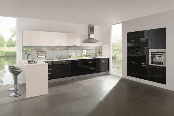 Designküche Cambia in Camee und Chocolat Hochglanz (rational - küchenzeile hochglanz weiß