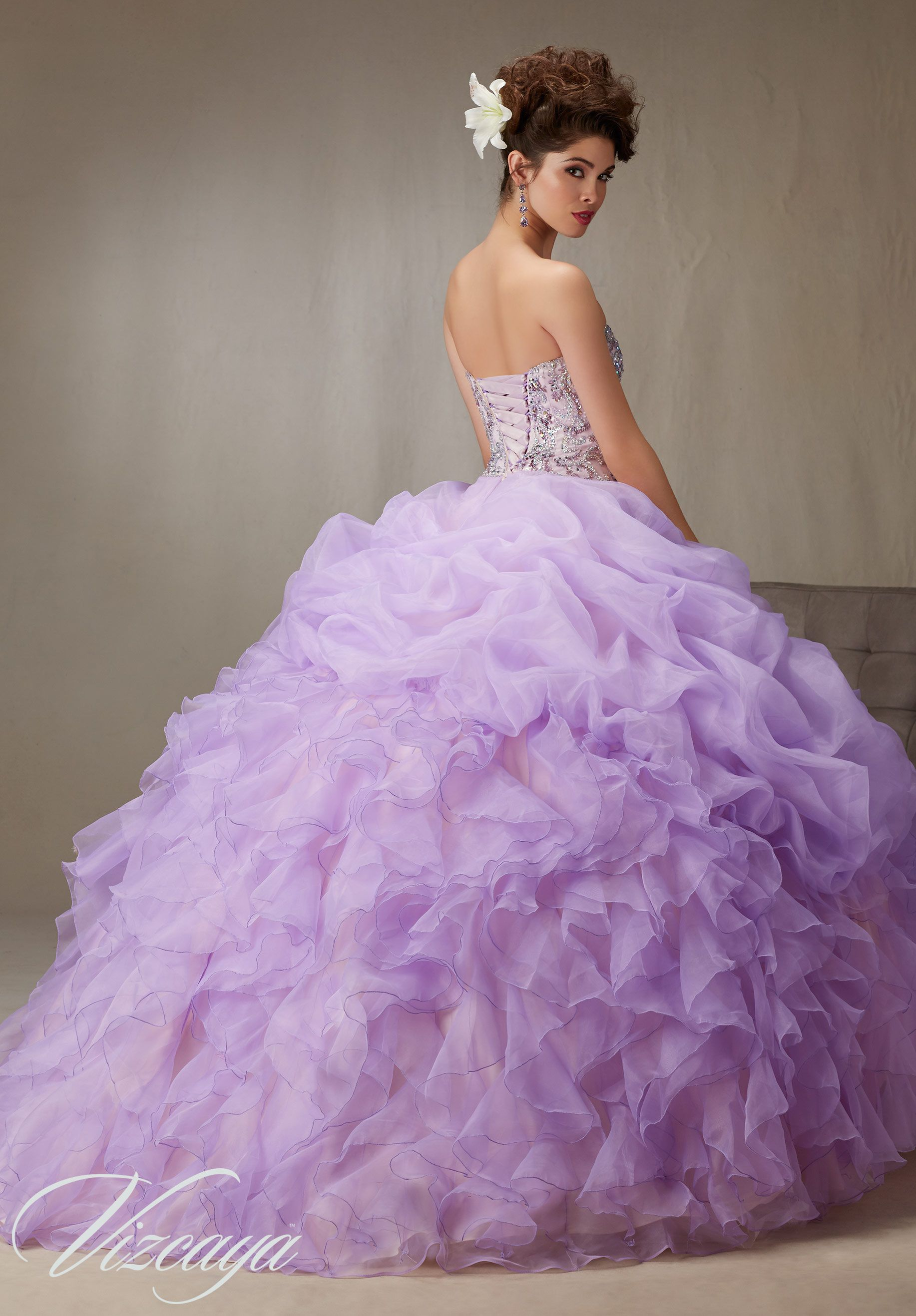 Purple Quinceanera Dress By Vizcaya Morilee Designed By Madeline Gardner Billowy Ruffled Organza Quinceanera Dresses Purple Quinceanera Dresses Quince Dresses [ 2636 x 1834 Pixel ]