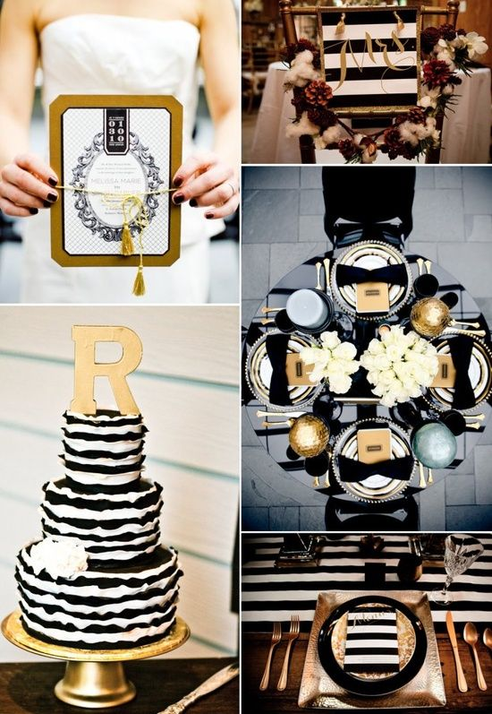 Black and Gold  an absolutely elegant wedding color palette.