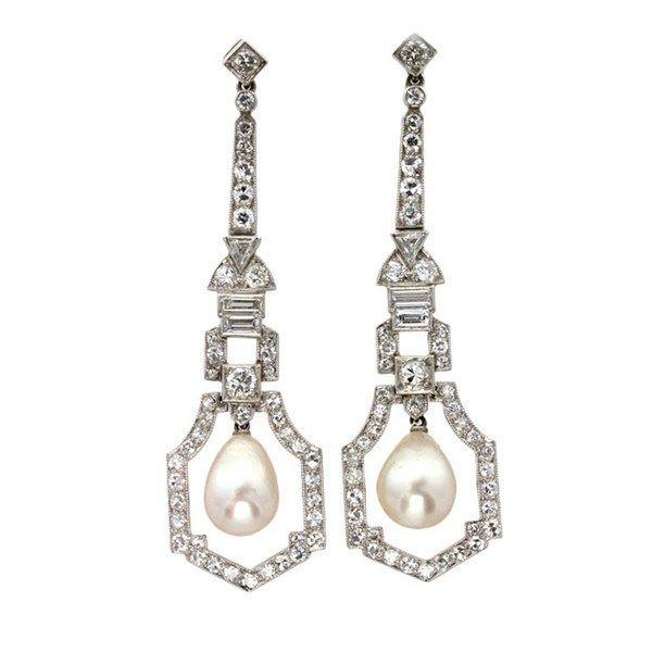 Mots-clésArt Deco, natural pearl, Natural Pearl Diamond Drop Earrings