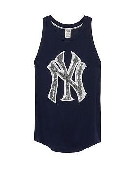 san francisco b1439 a9c9c New York Yankees Bling Rib Neck Tank | I love | Pink tops ...