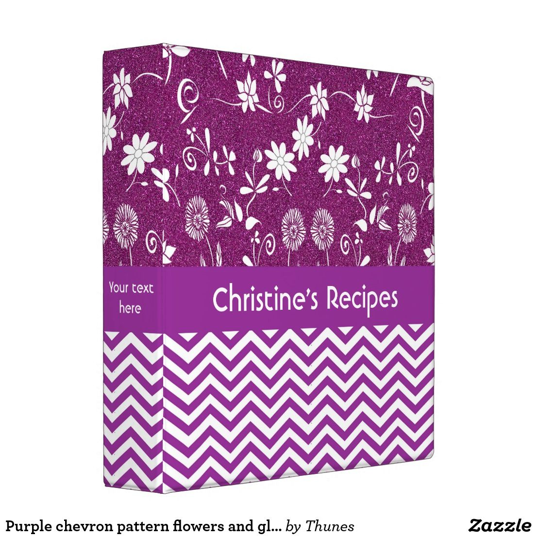 Purple Chevron Pattern Flowers And Glitter Recipe Binder