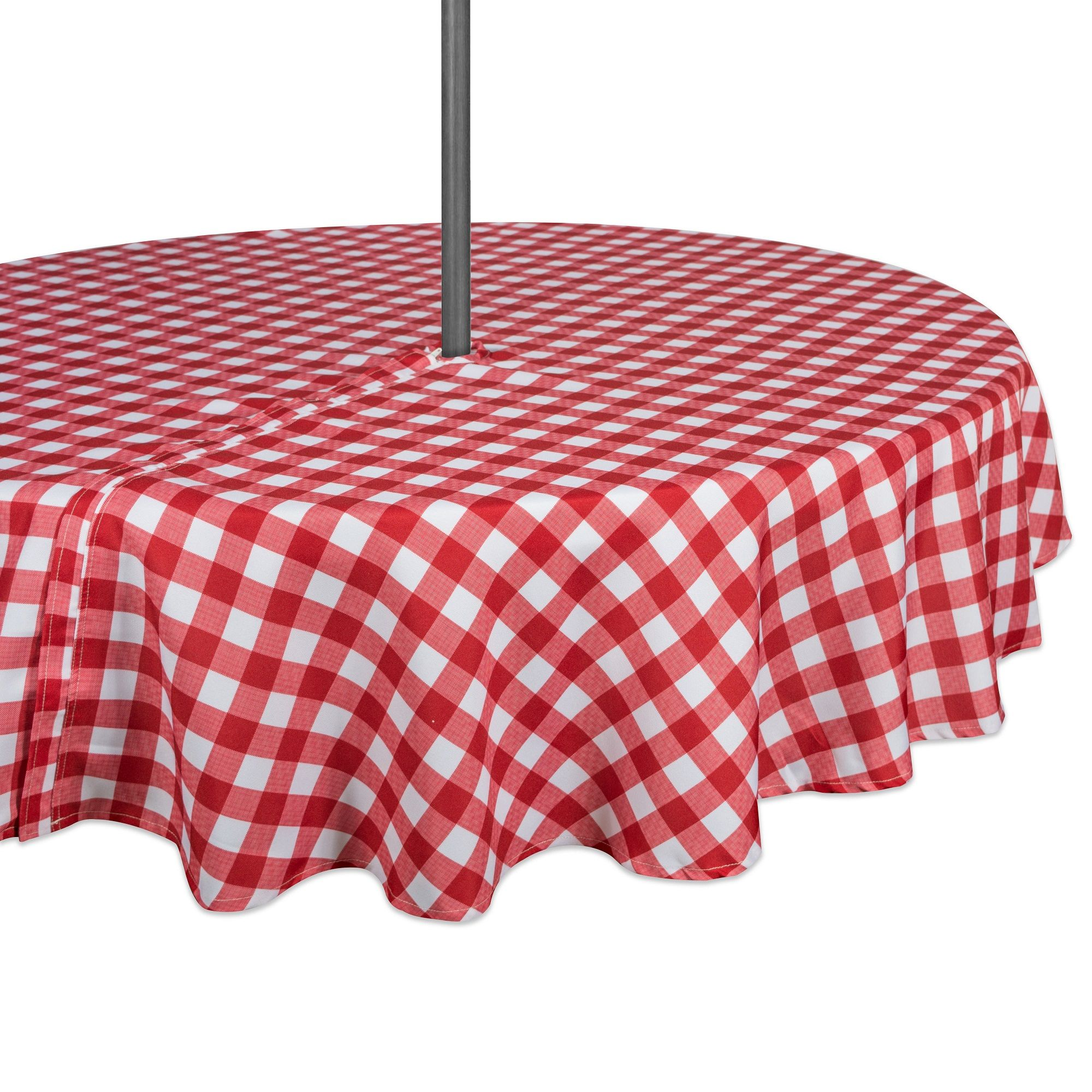 Red And White Checkered Pattern Outdoor Round Tablecloth With