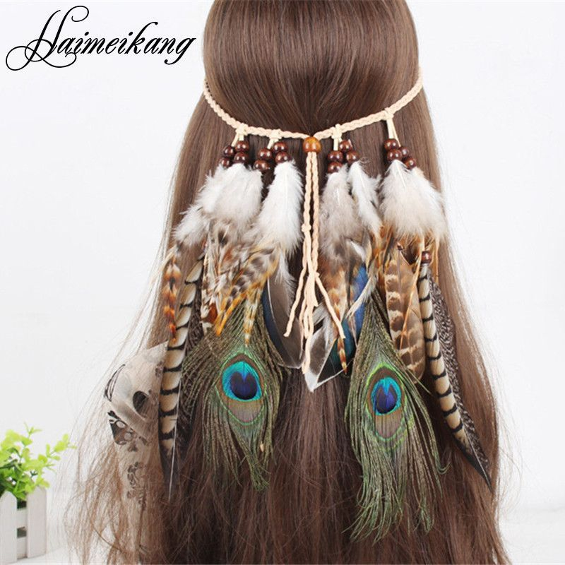 Indian Feather Headband Headdress Festival Boho Hairband Girl Hair Accessories