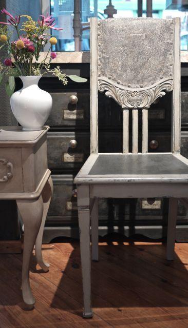 Stuhl Schnitzerei Grau Schwarz Kreidefarbe Handbemalte Mobel Dekor Esszimmerstuhl