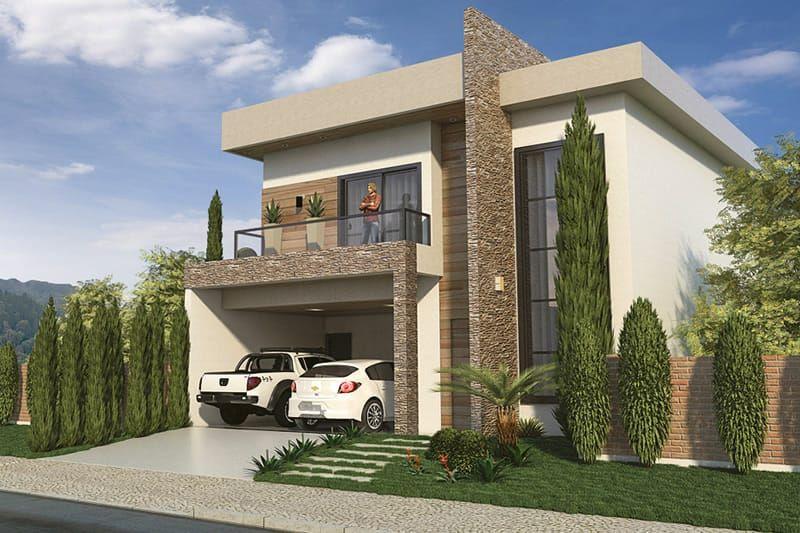 Sobrado com fachada moderna Fachadas de casas, Fachadas