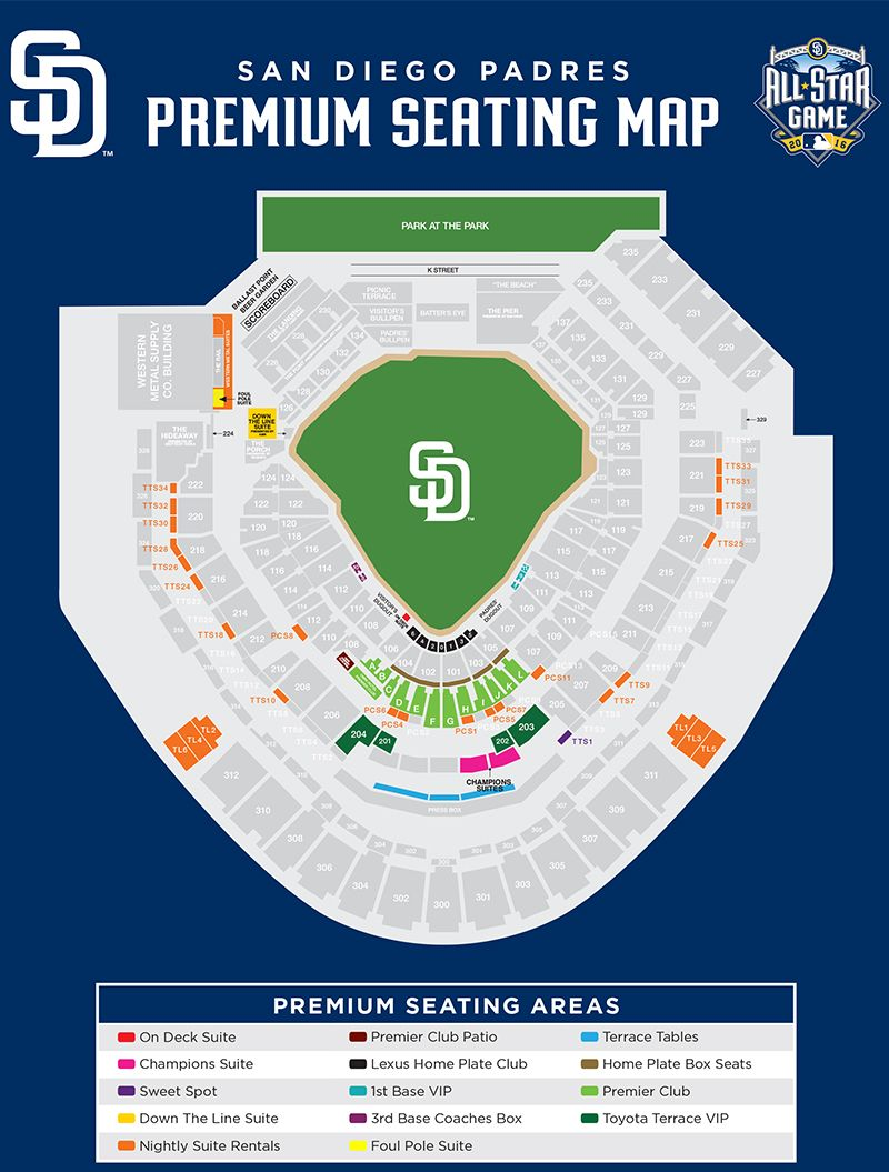 San Diego Padres Premium Seating Map San Diego Padres San Diego Playoff Picture