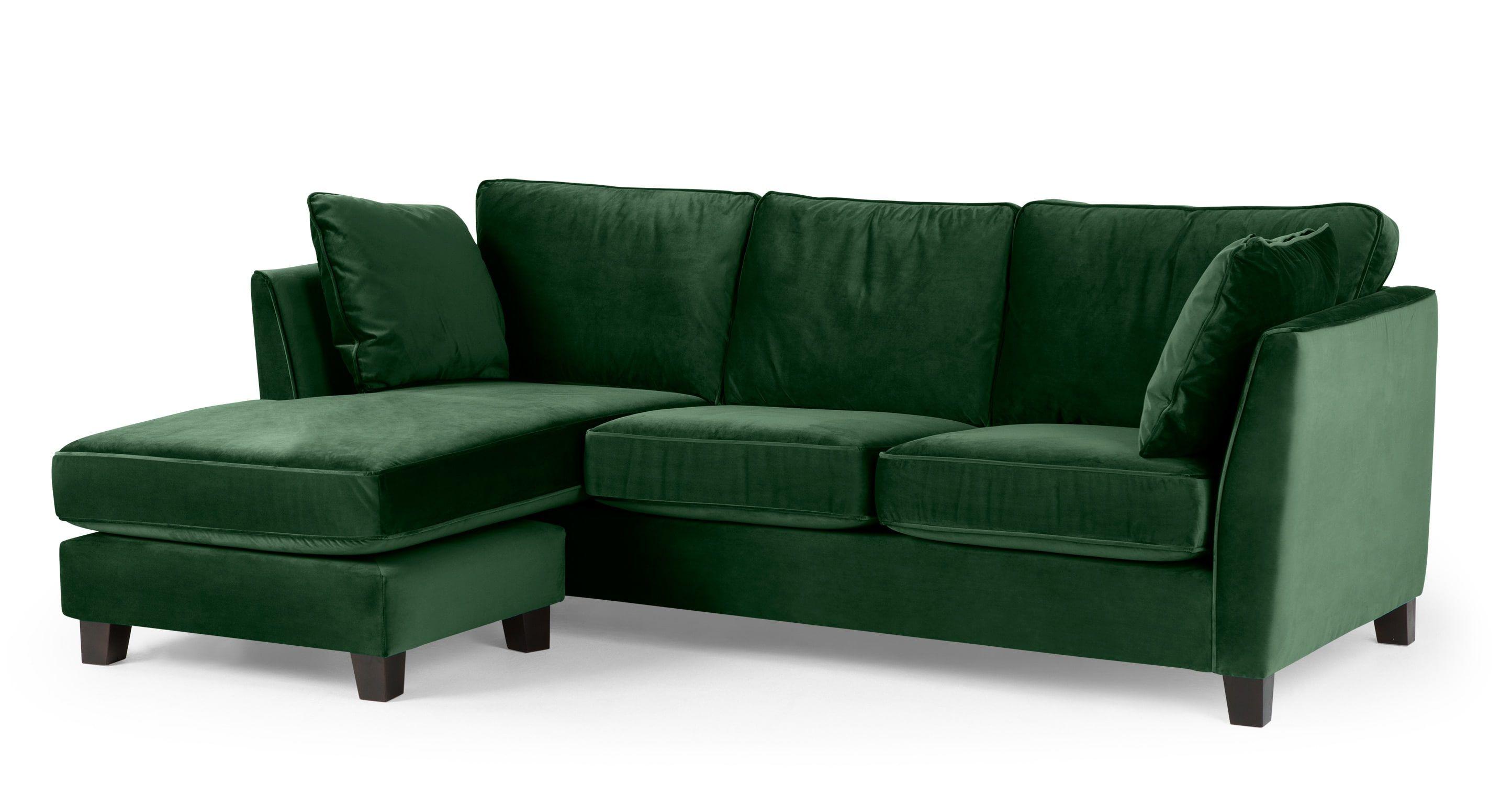 Wolseley Large Canape D Angle Velours Vert Foret Sofa Bed Green Corner Sofa Sofa Inspiration