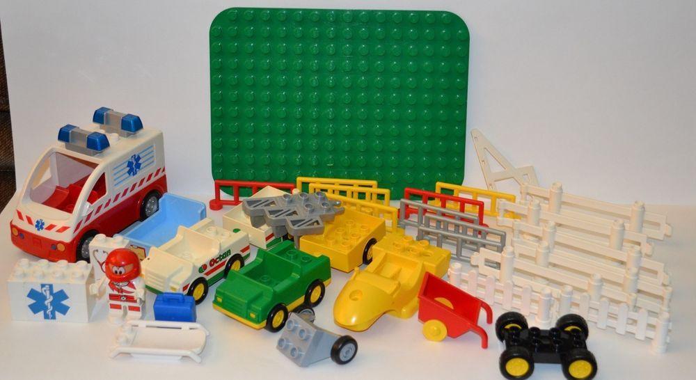 Lego Duplo Ambulance Race Car Driver Fences Airplane Base Plate