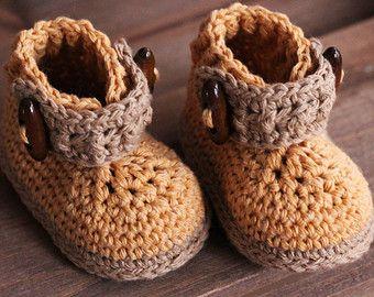"""Crochet Bootie Pattern for Boys, """"Trekk Work Boot"""", Boys Bootie Pattern, Crochet Pattern, Boys Boots PATTERN ONLY"""