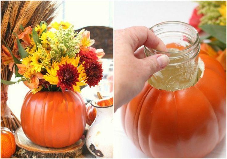 Herbstdeko-Tisch-blumenvase-kuerbisse-selber-machen #herbstdekotisch