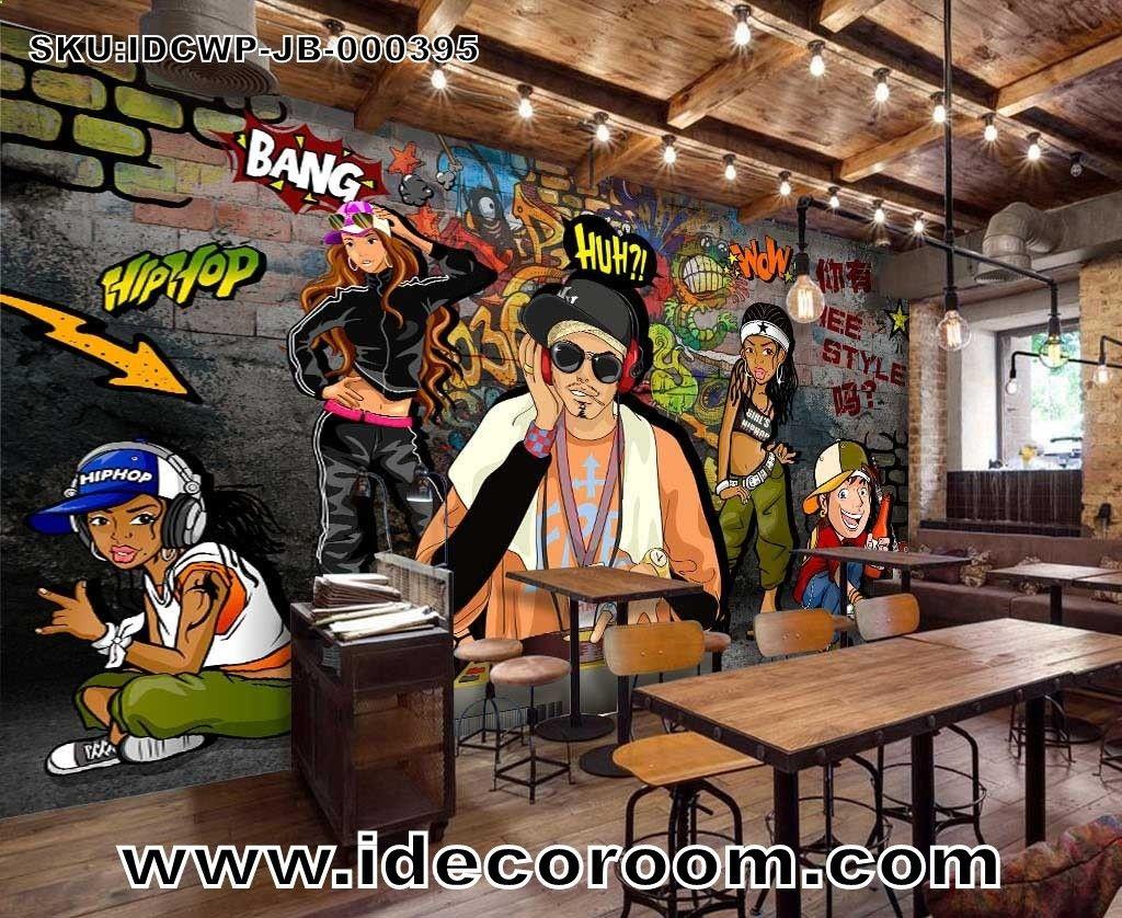 3D Graffiti Dj Cartoon Art Wall Murals Wallpaper Decals