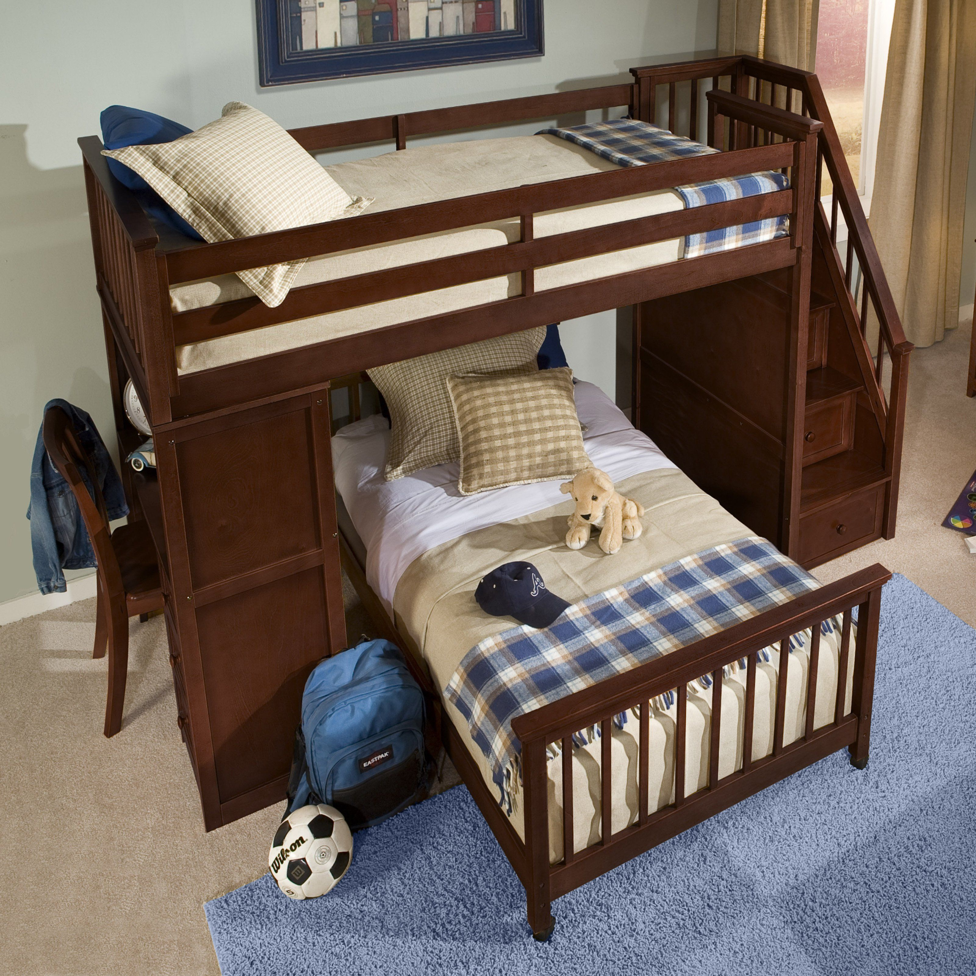 Loft bed with stairs and desk  Schoolhouse Stairway Loft Bed  Cherry  from hayneedle  Bunk