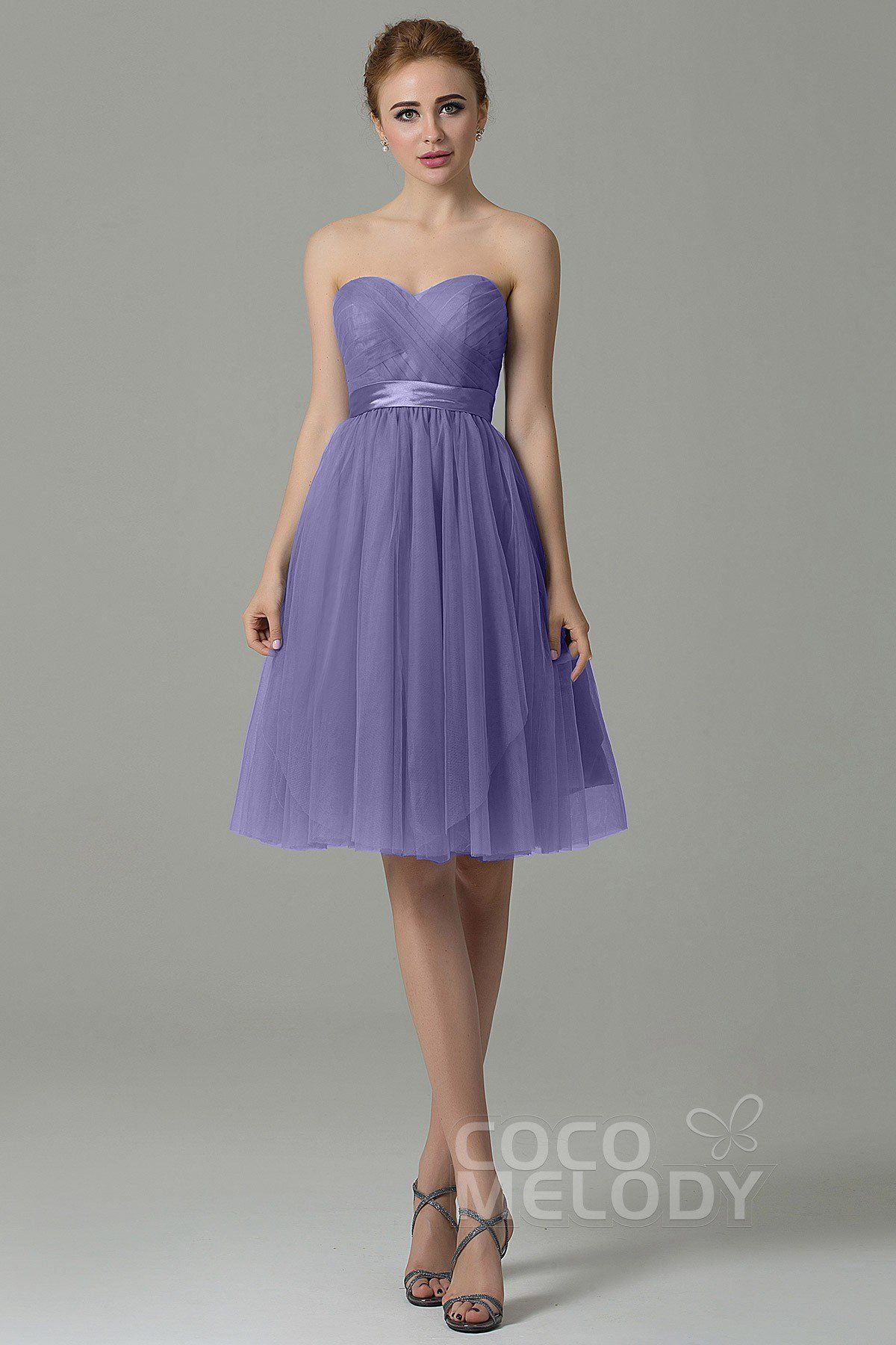296ddfe1b0cb Chic Sweetheart Natural Knee Length Tulle Sleeveless Zipper Convertible  Bridesmaid Dress with Sashes COZM15016 #bridesmaids #bridesmaiddresses  #cocomelody ...