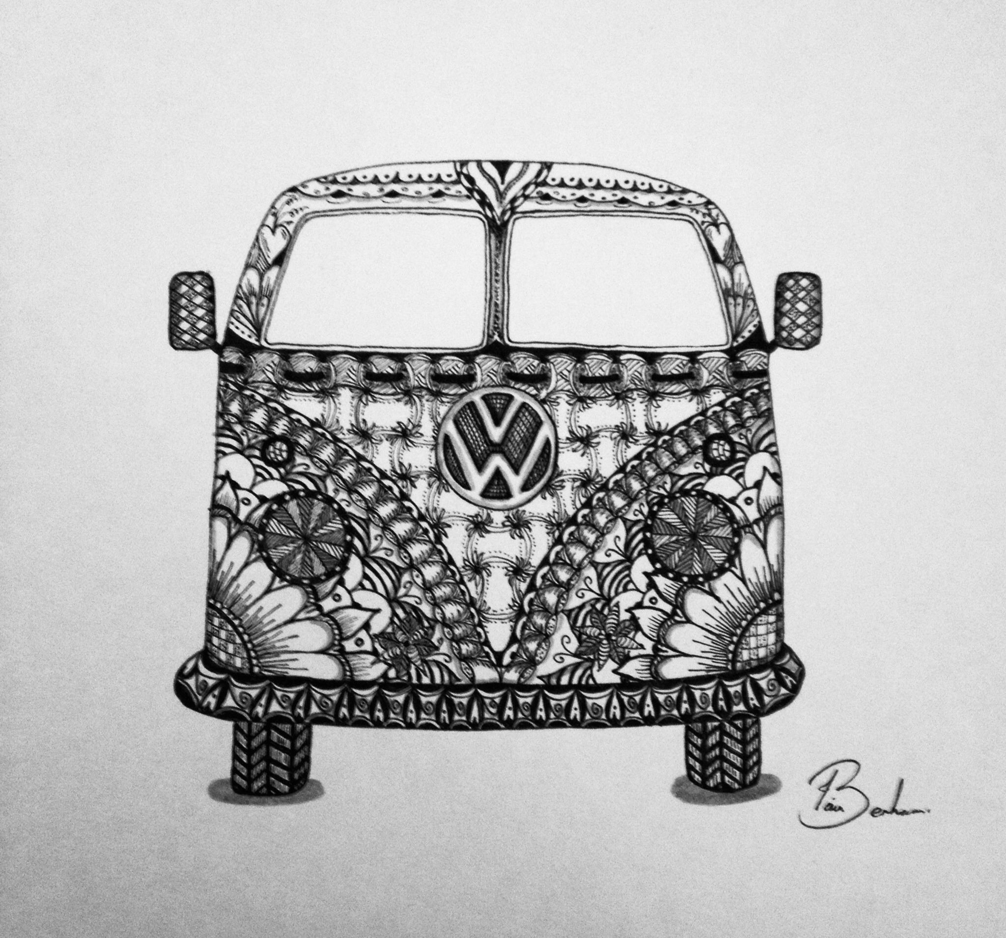 Zentangle doodle vw campervan ilustration pinterest art