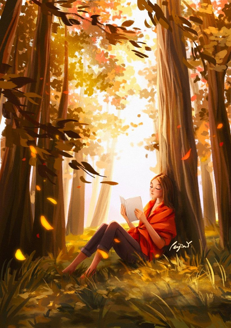Photo of Serenity of Fall – Art Print – Reading In Forest – Book Lover – Soothing Art – Fall Color – In The Nature – Peijin
