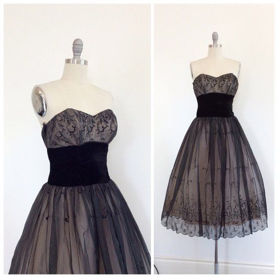 50s Black Chiffon & Velvet Strapless Party Dress / 1950s
