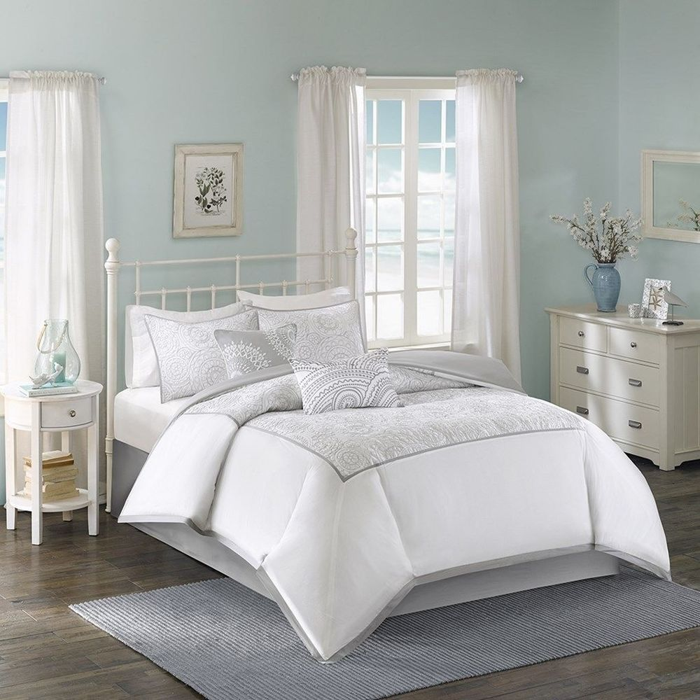 Luxury White w/Silver Comforter Bed Skirt Pillow Shams AND