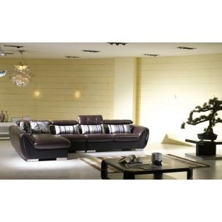 Modern Low Profile Black Leather Sectional Sofa W Adjule Headrests And Decorative Fabric Pillows