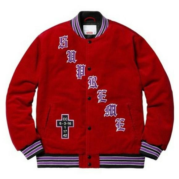 Supreme Jackets & Coats | Old English Corduroy Varsity Jacket Sz L | Poshmark #varsityjacketoutfit