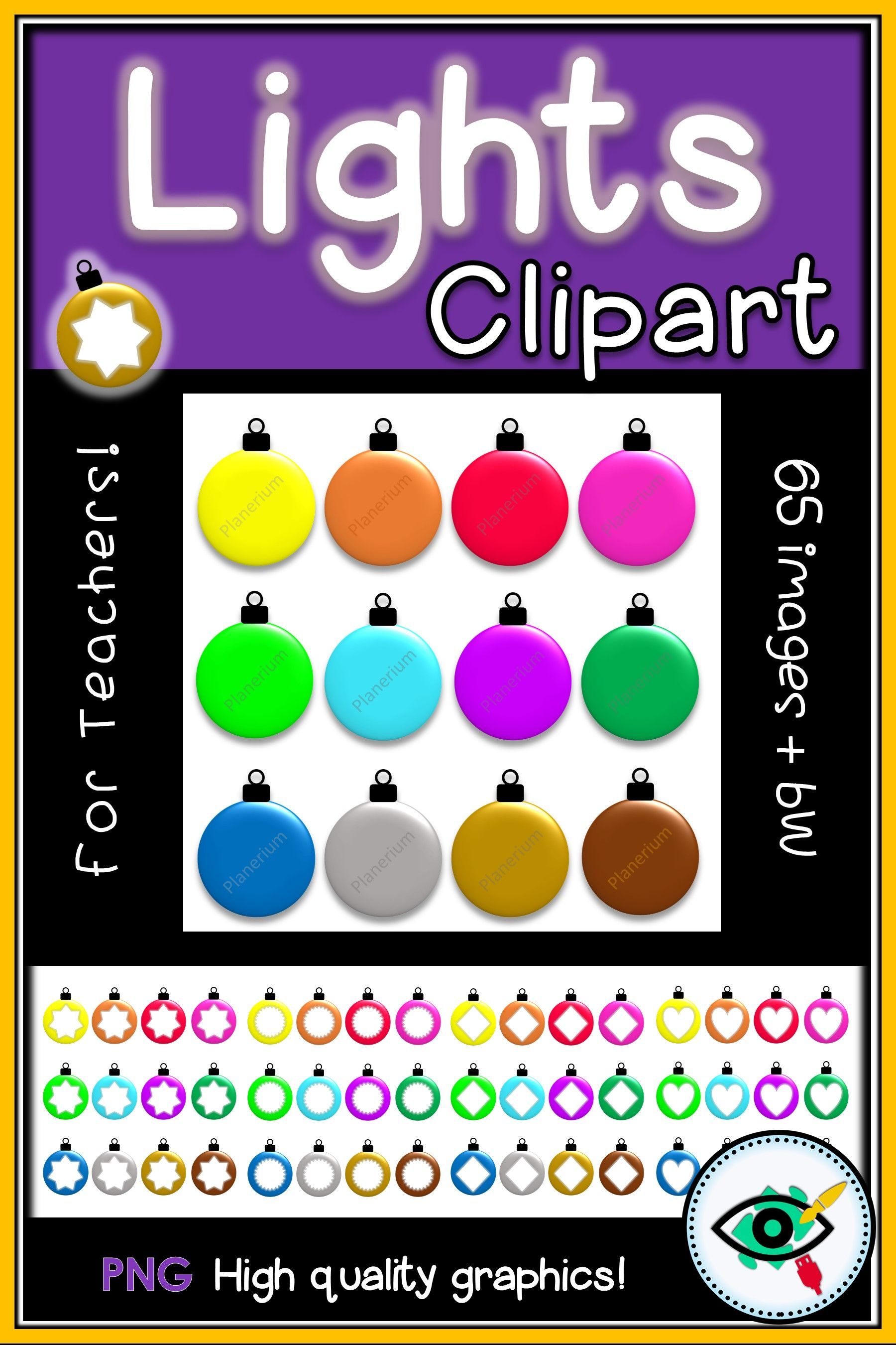 Colorful Christmas Winter Lights Clipart