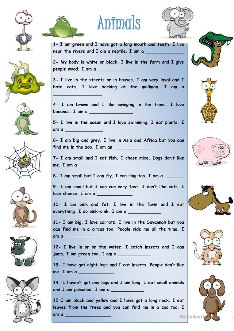 Animals Worksheet Free Esl Printable Worksheets Made By Teachers English Worksheets For Kids English Lessons For Kids English Lessons [ 1079 x 763 Pixel ]