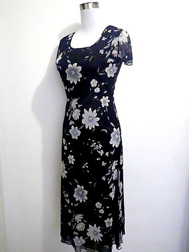 vintage black floral long dress 1990s by VintageHomage on Etsy, $20.00