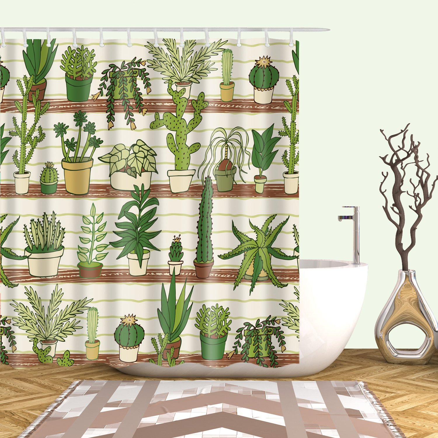 Houseplant Display Cactus Botanical Green Plant Shower Curtain