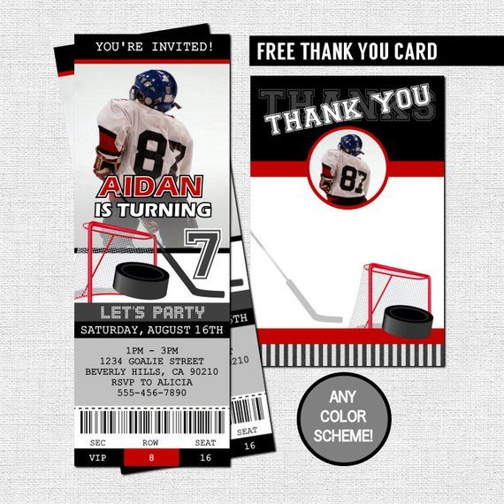 474252cfe26 HOCKEY TICKET INVITATIONS + Free Thank You Card Birthday Party (print your  own) Any Color! Personali