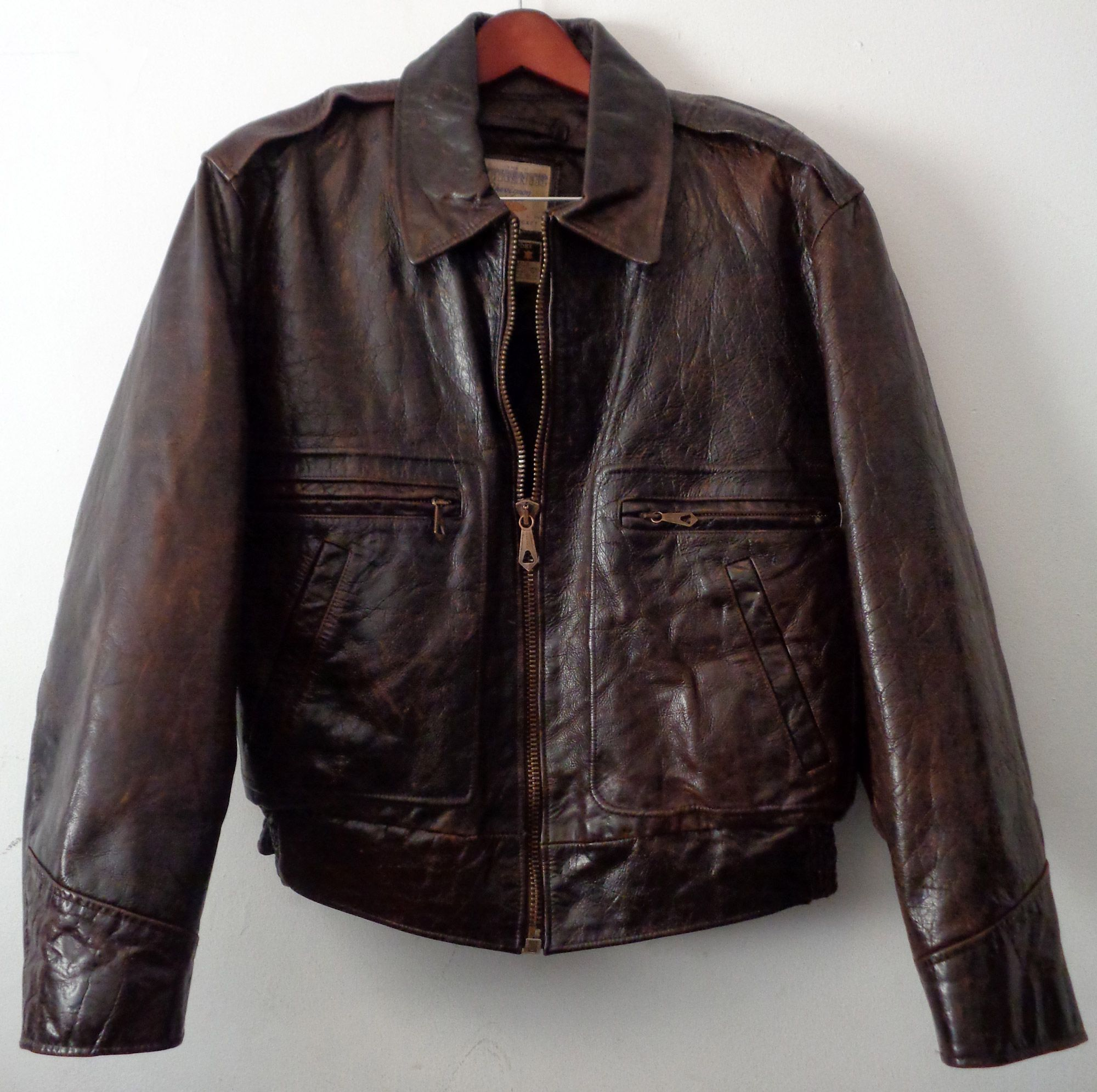 c381f382fac CHEVIGNON Brown Leather Bomber Jacket Men s Size L  Leather  Bomber  Jacket   BomberJacket