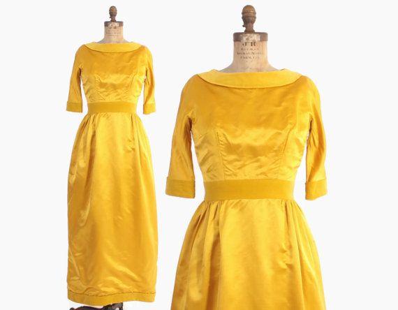 Vintage 60s  FERAUD DRESS  1960s Mustard Gold Silk /& Velvet Louis Feraud Evening Gown S