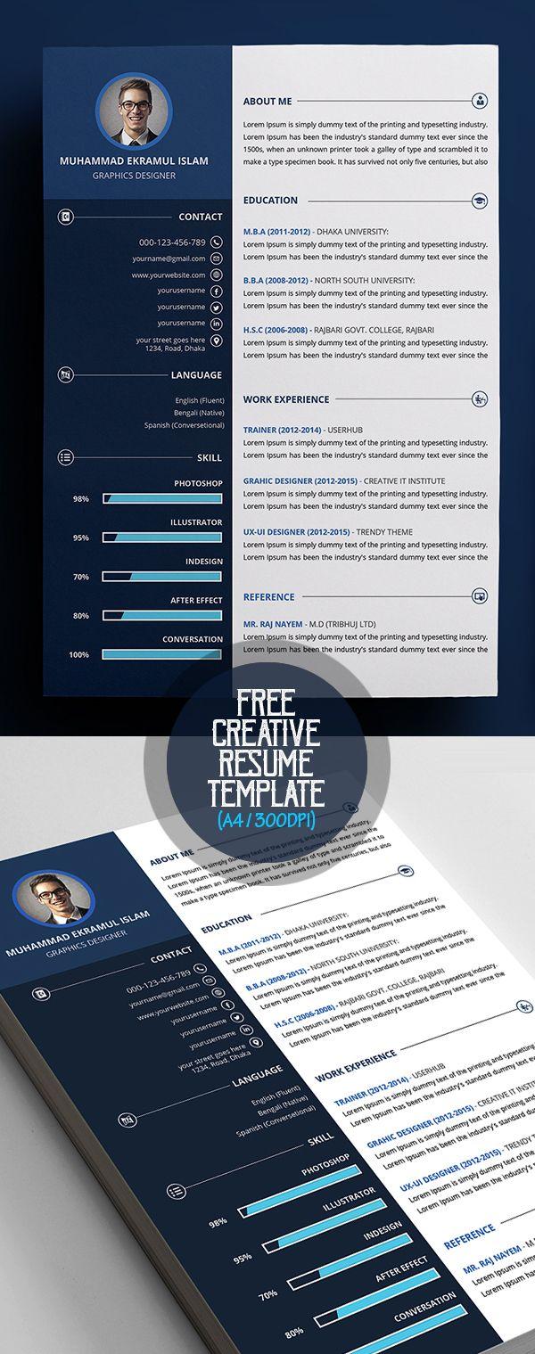 Free Creative Resume CV Template Portafolio Pinterest Cv