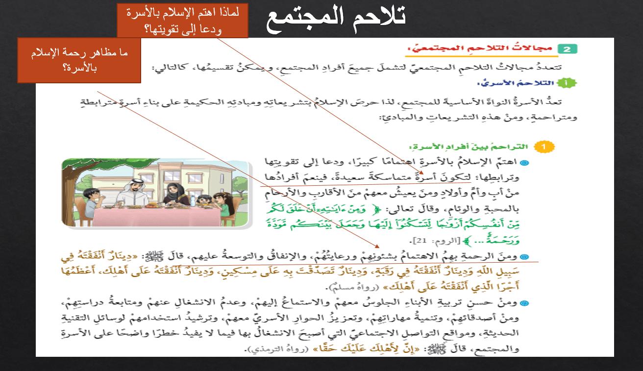 حل درس تلاحم المجتمع الصف التاسع مادة التربية الإسلامية بوربوينت In 2021