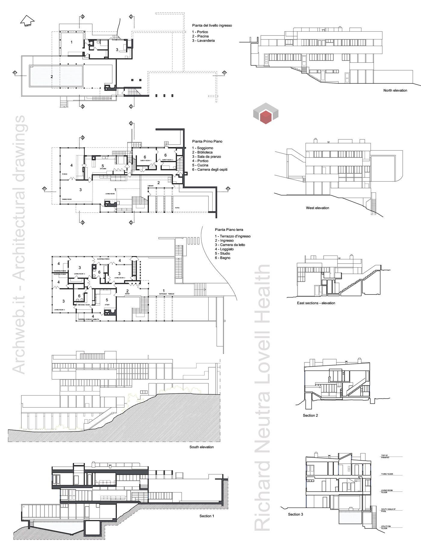 Lovell Health House Los Angeles CA 192729  Richard Neutra  Archweb  archi  Richard Neutra  Arquitectura Casas
