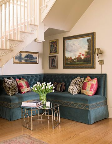 LOVE this table...and banquette, for that matter :)      Romantic Decor Ideas - Pictures of Romantic Home Decorating and Furniture - House Beautiful